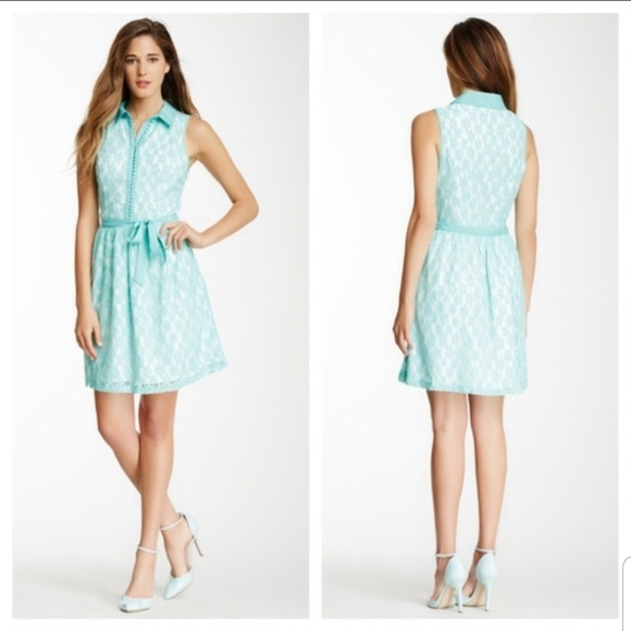 Kensie Dresses & Skirts - Kensie Mint Green Daisy Lace Button Down Dress